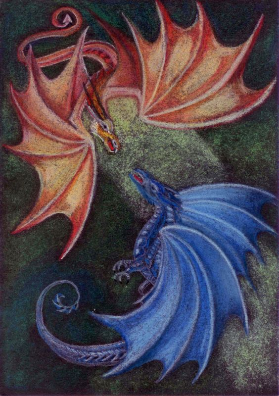 A4 soft pastel Dragons