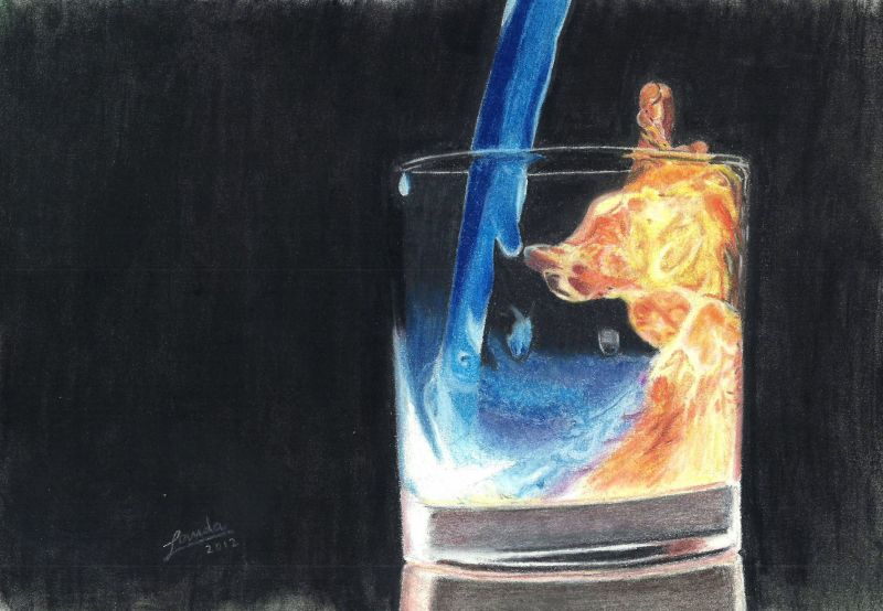 A4 soft pastel Water and Fire